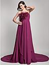 Linia -A Fără Bretele Trenă Court Șifon Seară Formală Rochie cu Drapat Pană / Blană de TS Couture®