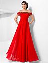 Linia -A Prințesă Lungime Podea Șifon Seară Formală Bal Militar Rochie cu Mărgele Drapat de TS Couture®