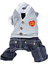 Hund Jumpsuits Hundkläder Hjärta Jeans Brittisk Grå Cotton Kostym För husdjur Herr Mode