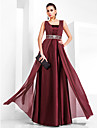 Sheath / Column Square Neck Floor Length Chiffon Stretch Satin Formal Evening / Military Ball Dress with Beading Draping by TS Couture®