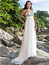 Sheath / Column Sweetheart Sweep / Brush Train Chiffon Custom Wedding Dresses with Beading by LAN TING BRIDE®