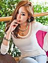 Femei Mesh Îmbinare cu mânecă lungă T-shirt