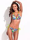 Street Chic - modă Doodle Print Triangle Set Top Bikini RELLECIGA cu cravate galben neon și barele detașabil