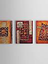 Pictat manual Abstract Trei Panouri Canava Hang-pictate pictură în ulei For Pagina de decorare