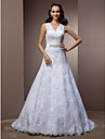 A-Line Princess V-neck Court Train Lace Wedding Dress with Beading Appliques Sash / Ribbon Bow by LAN TING BRIDE®