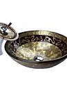 Stil retro sticlă călită Set Baie Spălat (cu robinet Waterfall, inel de montare și de evacuare a apei)
