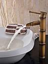 Art Deco/Retro Bazin Valvă Ceramică O gaură Singur mâner o gaura for  Alamă Antichizată , Baie Chiuveta Robinet