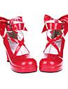 Încălțăminte Lolita dulce Cu Dantelă Toc Înalt Încălțăminte Nod Papion 7 CM Roșu Pentru Piele lăcuită
