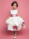 A-line genunchi rochie fata fata rochie - chiffon tulle fără mâneci curele cu arc