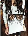 Tricou Cu Imprimeu De Leopard Drăguț, Cu Decolteu Rotund, Și Mânecă Lungă