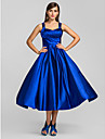 A-Line Princess Straps Tea Length Stretch Satin Cocktail Party / Homecoming / Prom Dress with Criss Cross by TS Couture®