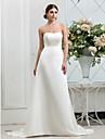 Linia -A Fără Bretele Mătura / Trenă Satin Made-To-Measure rochii de mireasa cu Nasture de LAN TING BRIDE®