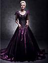 Linha A Decote V Cauda Corte Tafeta Estilo Celebridade Evento Formal Vestido com Micangas de TS Couture®