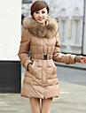 Jachetă de iarnă damă, lungime medie cu guler de blană de raton detașabil