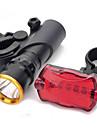 3-läge LED Bike Head Light + 7-läge 5-LED Tail Red Light med Mount (3xAAA)