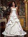 Corte en A / Princesa Sin Tirantes / Escote recto Larga Saten Vestidos de novia hechos a medida con Falda Plegada por LAN TING BRIDE®