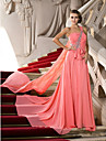 A-Line One Shoulder Court Train Chiffon Prom / Formal Evening Dress with Bow(s) Crystal Detailing by TS Couture®