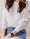 Femei Round Lace Collar Cut Out T-shirt