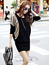 Pentru femei de contrast pelerină de culoare cu maneci rochie mini