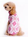 강아지 스웨터 강아지 의류 격자무늬/체크 블루 핑크 코스츔 애완 동물