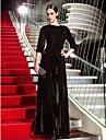 Linia -A Bijuterie Lungime Podea Catifea Seară Formală Bal Militar Rochie cu Drapat Părți de TS Couture®