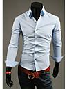 LEEBIN bărbați Slim Solid3 Button Collar Shirt maneca lunga (albastru deschis)