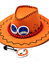 Hatt/Mössa Inspirerad av One Piece Portgas D. Ace Animé Cosplay Accessoarer Holk / Hatt Orange PU Läder Man