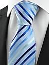 bărbați jacquard lumină în dungi cravată oficială albastru # 0017