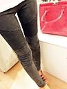 Femei coreeană Stil Slim plisate Elasticitatea Pantaloni din denim Casual