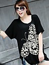 Femei de înaltă calitate de imprimare cu maneci scurte Modal Stretch libere Big Yards Butterfly T-Shirt