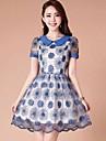 Femei de moda zburli Organza A-linie Mini Dress