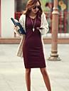Femei V Neck solid Culoare maneca lunga Bodycon Mini Dress (Mai multe culori)