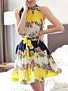 fără mâneci boem sifon imprimeu floral rochie mini femei
