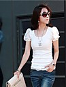 Femei Solid gât cu maneci scurte T-shirt