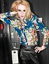 Femei Floral mâneci lungi Slim haine casual de birou Lady Blouse