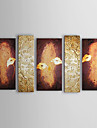 Pictat manual Floral/Botanic Cinci Panouri Canava Hang-pictate pictură în ulei For Pagina de decorare
