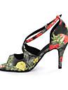 Pentru femei Pantofi Dans Latin Imitație de Piele Sandale Cataramă Toc Îndesat Personalizabili Pantofi de dans Multicolor / Leopard