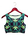 Femei O-gât 3D Marijuana Pot Weed Print European Style Harajuku mâneci Crop Top Vest Tee