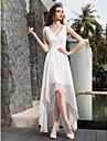 Linha A Decote V Assimetrico Georgette Vestidos de noiva personalizados com Drapeado Lateral Franzido de LAN TING BRIDE®