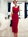 Bodycon sexy femei solid Culoare mâneci lungi rochie