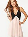 Ricci femei fără mâneci V Neck ecran color Dress 2653