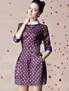 Femei Digital Print 1/2 Sleeve Dress