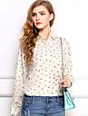 Femei Micșorați Geometria Print maneca lunga șifon Shirt