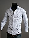 Zian® Men's Shirt Collar Fashion Start Print Slim Contrast Color Casual Long Sleeve Shirt O