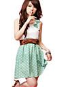 Femei Lace Bow Polka Dots Dress