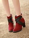 Pantofi pentru femei - Imitație de Piele - Toc Gros - Vârf Rotund - Cizme - Casual - Negru / Verde / Roșu