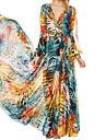 HDY elegant leagăn print floral rochie majorete cu centura