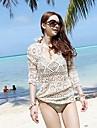 Femei guler rotund elegant bej Hollow-out Kintwear Sun Prevenirea Beach haine semi-manșon