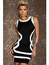 Dulci femei gât Contrast culoare Bodycon Dress