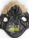 Chat Chien Pulls a capuche Vetements pour Chien Lettre et chiffre Police/Militaire Noir Terylene Costume Pour les animaux domestiques